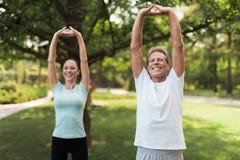 Пары делая тренировки в парке Они делают протягивать руки Стоковые Фото