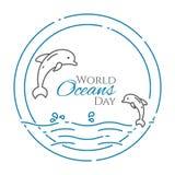 Пары дельфинов скача надводные - линия знамя дня Мировых океанов стиля изолированное на белой предпосылке Стоковая Фотография