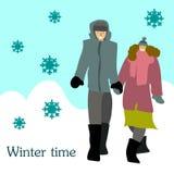Пары держат руки в зиме на улице иллюстрация штока