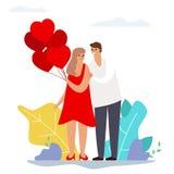 Пары дня Святого Валентина любят характер дизайна воздушных шаров сердца современный плоский бесплатная иллюстрация