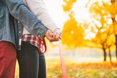 Пары держа поводок совместно в парке осени Стоковая Фотография RF