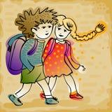 Пары детей идя к школе бесплатная иллюстрация