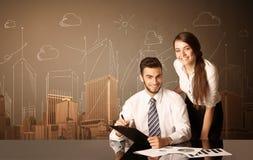 Пары дела с зданиями и измерениями Стоковые Изображения RF