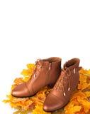 Пары женских ботинок на листьях осени предпосылки золотых Стоковое фото RF