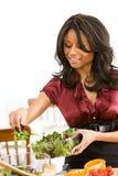 Пары: Женщина делая салат Стоковые Изображения