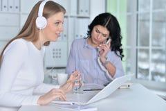 Пары женщин работают в офисе Стоковые Изображения