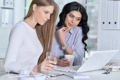 Пары женщин работают в офисе Стоковые Фото