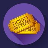 Пары желтых билетов кино на сини Стоковая Фотография