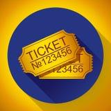 Пары желтых билетов кино на сини Стоковая Фотография RF