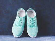 Пары зеленых тапок холста женщины на голубой предпосылке Стоковые Изображения RF