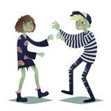 Пары зомби Милая молодая женщина и человек в стиле мертвых извергов идя на хеллоуин party вектор Стоковая Фотография