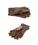 Пары изолированных перчаток Брайна кожаных Стоковые Изображения