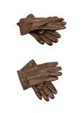 Пары изолированных перчаток Брайна кожаных Стоковое Фото