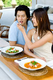 Пары имея обед Стоковое Изображение RF