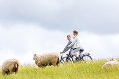 Пары имея путешествие велосипеда морского побережья на дамбе Стоковое Фото