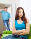 Пары имея ссору на дому Стоковая Фотография