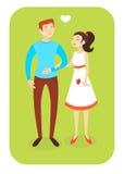 Пары иллюстрации вектора в влюбленности Стоковые Фото