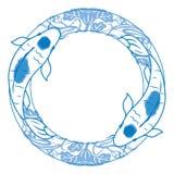 Пары иллюстрации koi карпа в голубой и белой керамике иллюстрация штока