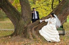 пары как раз поженились Стоковое Изображение RF