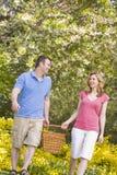 пары корзины outdoors picnic ся гулять Стоковые Фотографии RF