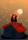 Пары котов в влюбленности на крыше дома иллюстрация штока