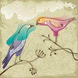 Пары красивых птиц влюбленности иллюстрация штока