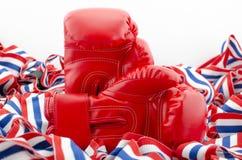 Пары красных кожаных перчаток бокса резвятся, защищаются изолированный на белизне Стоковая Фотография