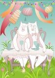 Пары медведя на праздничной таблице бесплатная иллюстрация