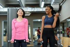 Пары молодого черного Афроамериканца и азиатских сексуальных женщин делая тренировку фитнеса работают с гантелями совместно в Стоковая Фотография RF