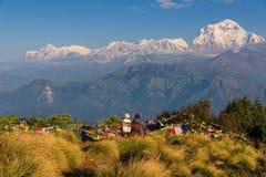 Пары наблюдая Mt Dhaulagiri 8,172m от Poonhill, Непала стоковое фото rf