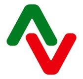 Пары наконечников Логотип стрелки, значок стрелки с 2 стрелками иллюстрация вектора