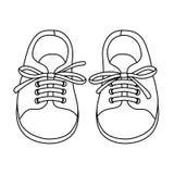 Пары нарисованные рукой ботинок детей Стоковая Фотография