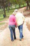 пары наслаждаясь прогулкой парка старшей Стоковое Изображение