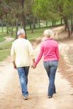 пары наслаждаясь прогулкой парка старшей Стоковые Фотографии RF