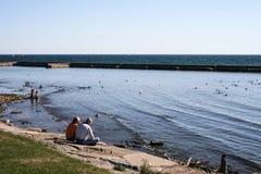 Пары на береге озера Стоковые Изображения RF