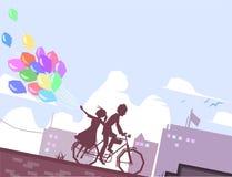 Пары на велосипеде иллюстрация штока