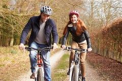 Пары на езде цикла в сельской местности зимы стоковое фото rf