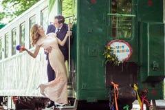 Пары на лестнице фуры Стоковое Фото