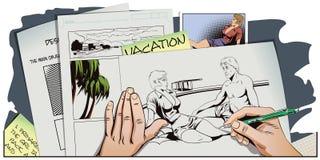 Пары на каникуле Рука красит изображение Стоковое фото RF