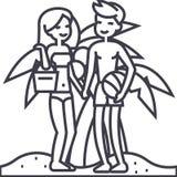 Пары на пляже, летних каникулах, женщине и человеке с шариком и сумкой vector линия значок, знак, иллюстрация на предпосылке Стоковое фото RF