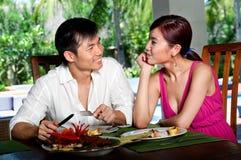 Пары на ресторане Стоковая Фотография