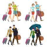 Пары новобрачных с чемоданами иллюстрация вектора