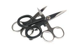 3 пары ножниц ногтя на белизне стоковая фотография rf