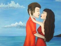 Пары обнимая на seashore бесплатная иллюстрация