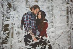 Пары обнимая один другого в лесе зимы Стоковое Изображение