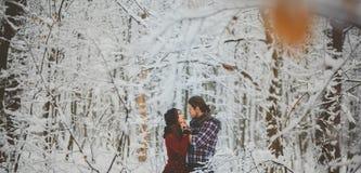 Пары обнимая один другого в лесе зимы Стоковая Фотография