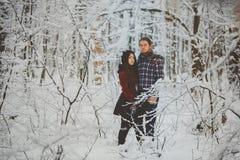 Пары обнимая один другого в лесе зимы Стоковое фото RF