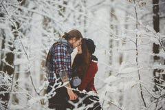 Пары обнимая один другого в лесе зимы Стоковая Фотография RF