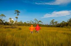 Пары оставаясь с поднятыми руками на пшеничном поле Стоковое фото RF