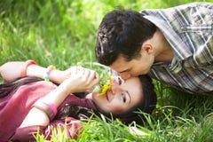 Пары ослабляя на зеленой траве Стоковое Изображение RF